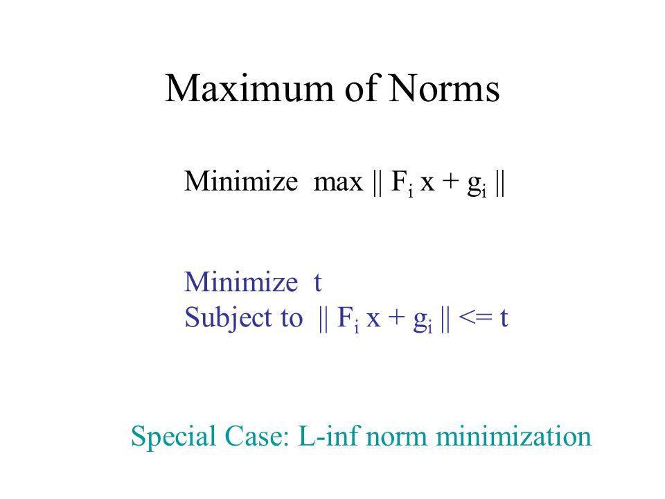Maximum of Norms Minimize max || F i x + g i || Minimize t Subject to || F i x + g i || <= t Special Case: L-inf norm minimization