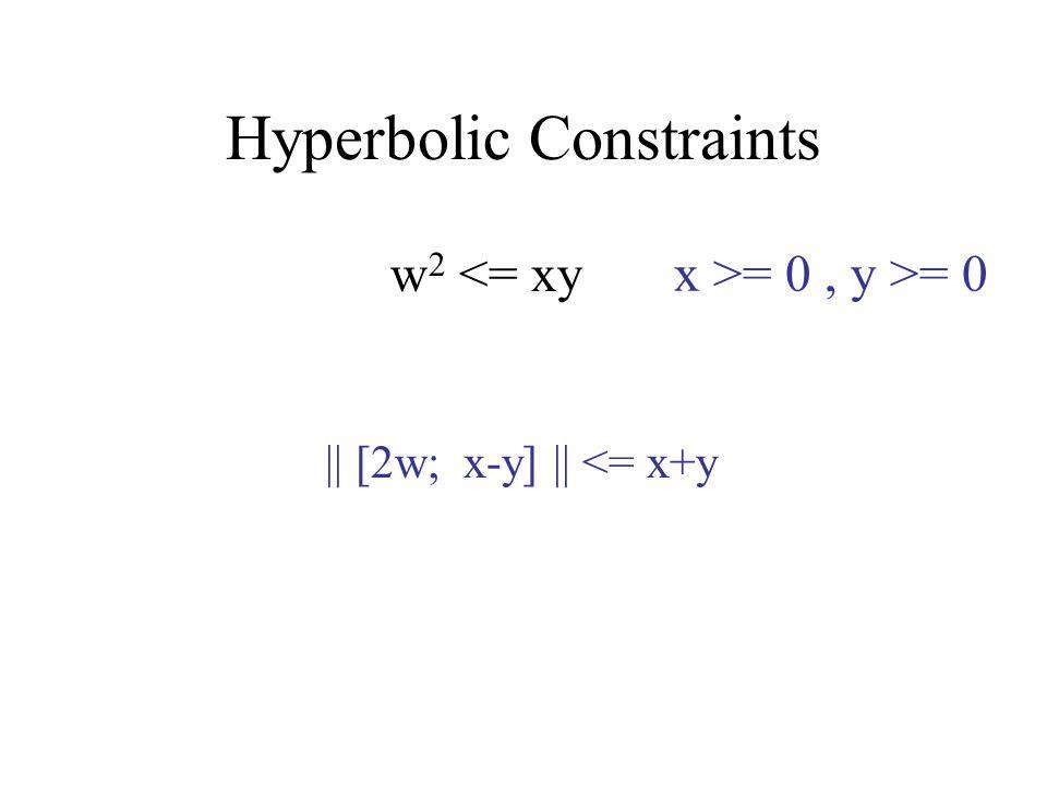 Hyperbolic Constraints w 2 <= xy x >= 0, y >= 0 || [2w; x-y] || <= x+y