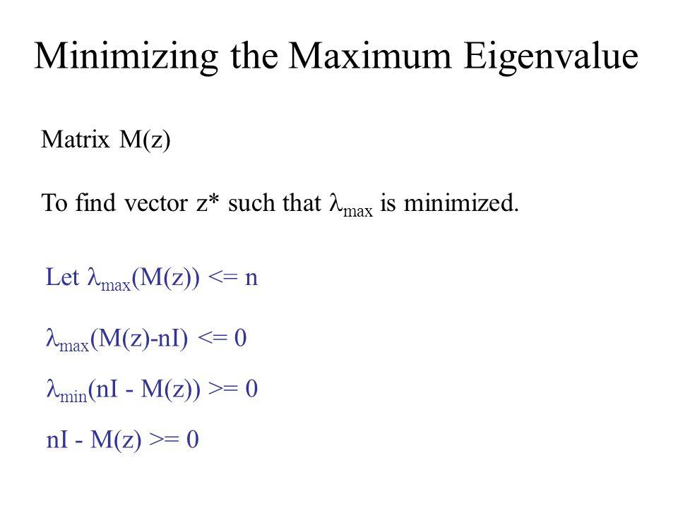Minimizing the Maximum Eigenvalue Matrix M(z) To find vector z* such that max is minimized.