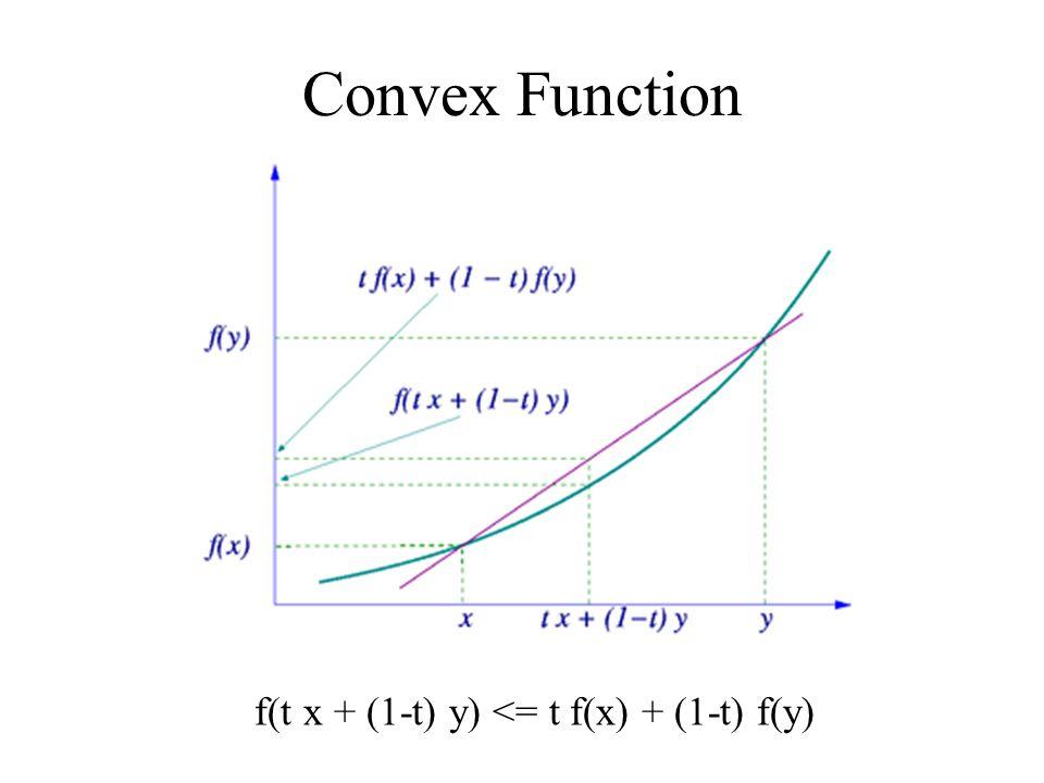 Convex Function f(t x + (1-t) y) <= t f(x) + (1-t) f(y)