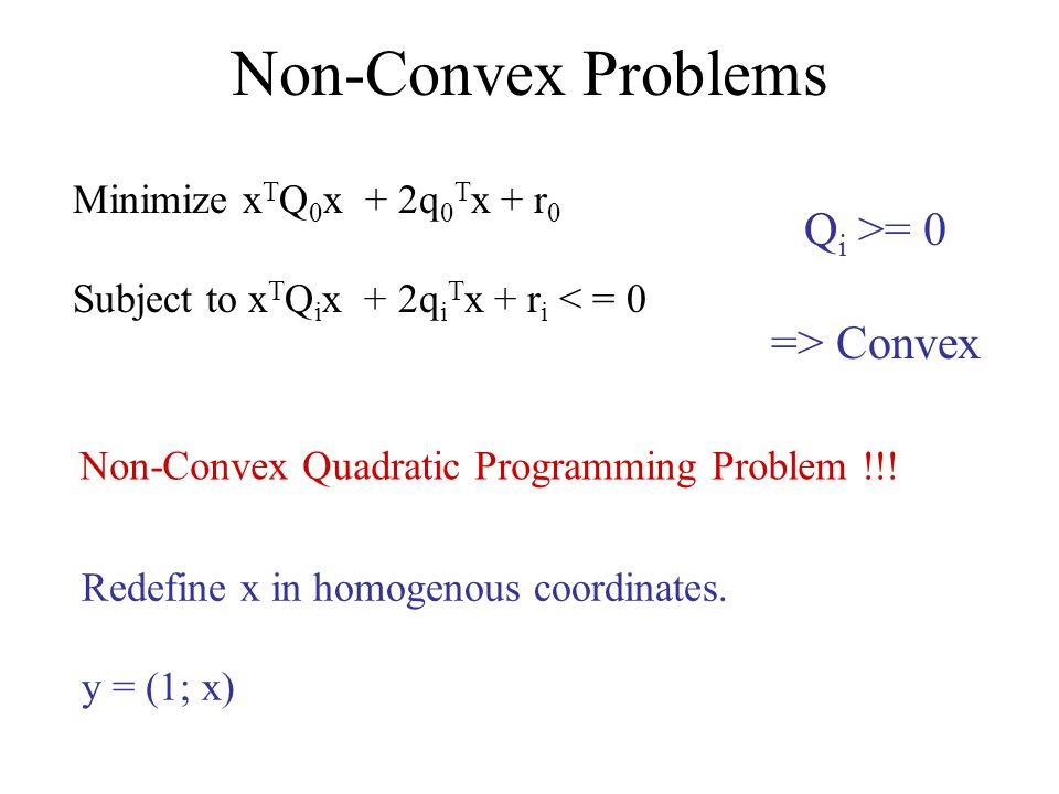 Non-Convex Problems Minimize x T Q 0 x + 2q 0 T x + r 0 Subject to x T Q i x + 2q i T x + r i < = 0 Q i >= 0 => Convex Redefine x in homogenous coordinates.