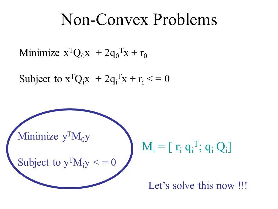 Non-Convex Problems Minimize x T Q 0 x + 2q 0 T x + r 0 Subject to x T Q i x + 2q i T x + r i < = 0 Minimize y T M 0 y Subject to y T M i y < = 0 M i = [ r i q i T ; q i Q i ] Lets solve this now !!!