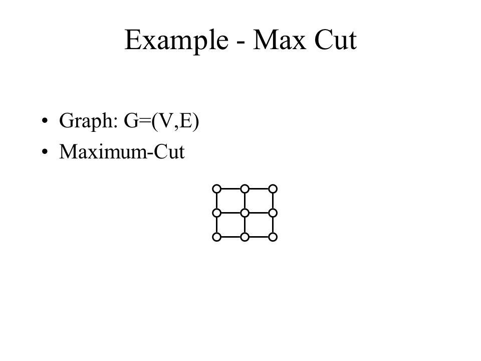 Example - Max Cut Graph: G=(V,E) Maximum-Cut