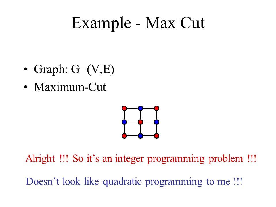 Graph: G=(V,E) Maximum-Cut Example - Max Cut Alright !!.