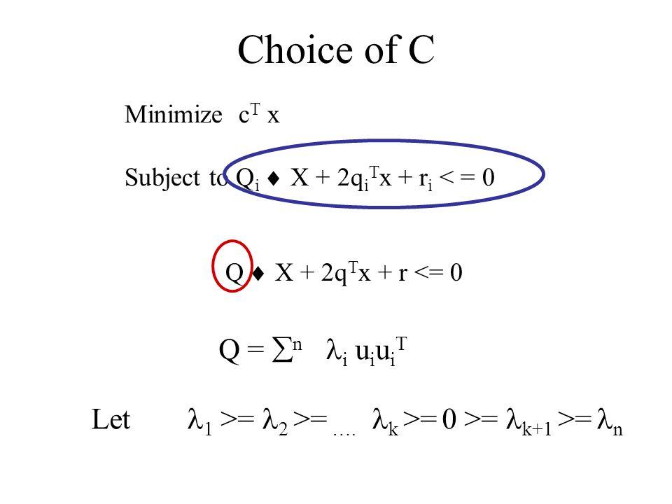 Choice of C Minimize c T x Subject to Q i X + 2q i T x + r i < = 0 Q X + 2q T x + r <= 0 Q = n i u i u i T Let 1 >= 2 >= ….