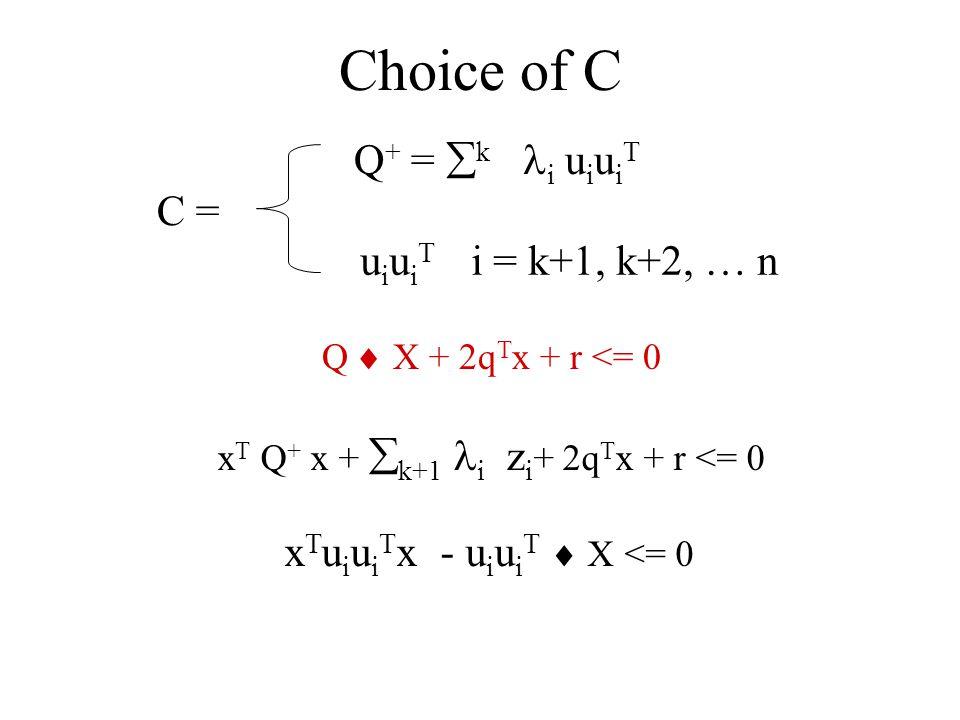 Choice of C C = Q + = k i u i u i T x T Q + x + k+1 i z i + 2q T x + r <= 0 u i u i T i = k+1, k+2, … n x T u i u i T x - u i u i T X <= 0 Q X + 2q T x + r <= 0