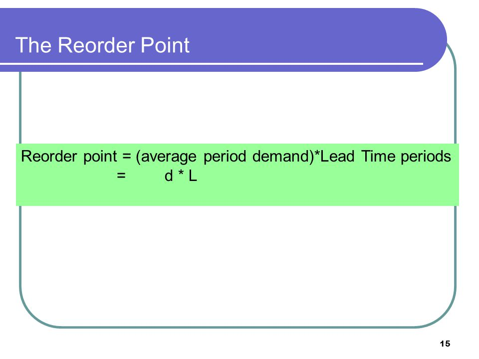 15 The Reorder Point Reorder point = (average period demand)*Lead Time periods =d * L