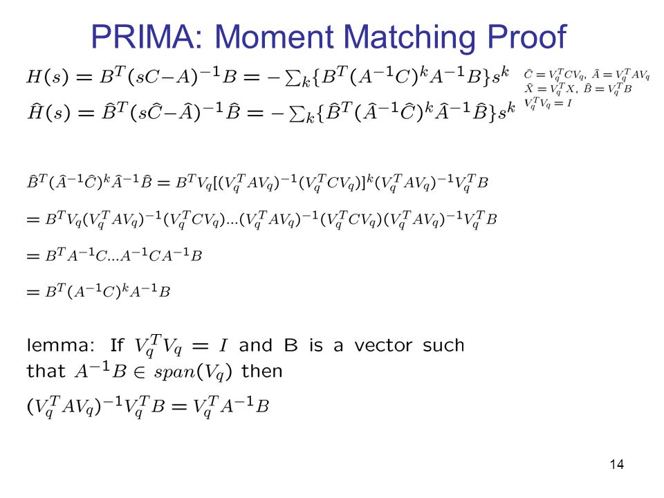 PRIMA: Moment Matching Proof Used lemma 1 14