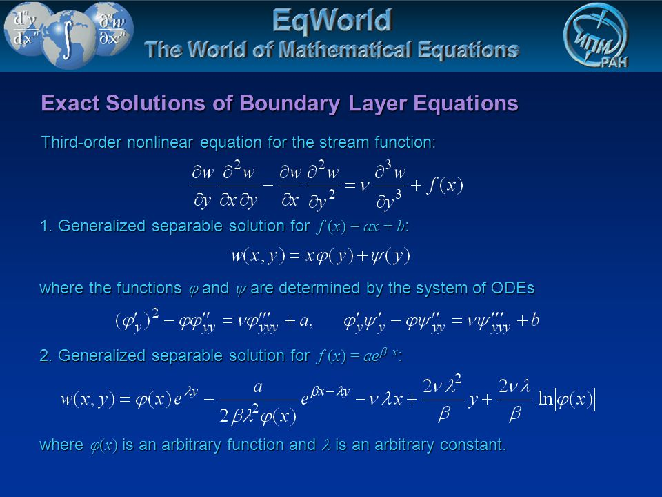 Exact Solutions of Boundary Layer Equations Third-order nonlinear equation for the stream function: 1. Generalized separable solution for f (x) = ax +