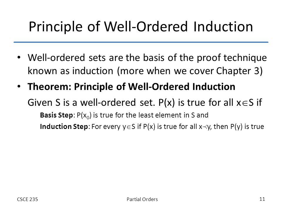 Partial OrdersCSCE 235 11 Principle of Well-Ordered Induction Well-ordered sets are the basis of the proof technique known as induction (more when we