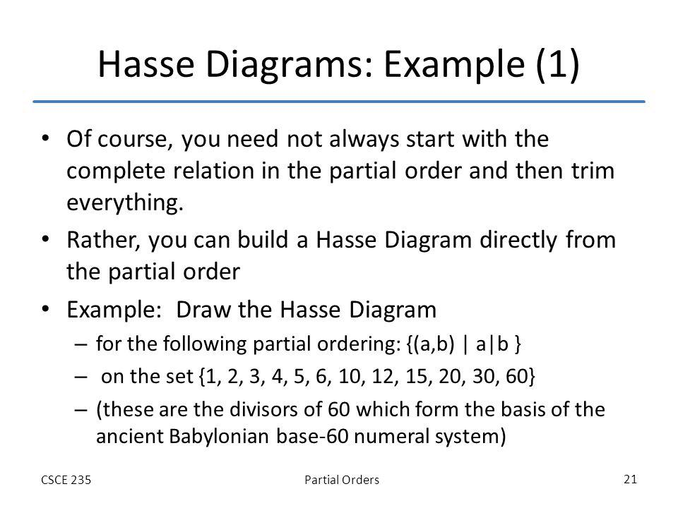 Partial OrdersCSCE 235 21 Hasse Diagrams: Example (1) Of course, you need not always start with the complete relation in the partial order and then tr