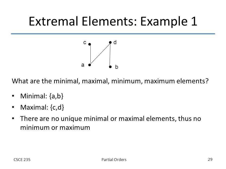 Partial OrdersCSCE 235 29 Extremal Elements: Example 1 What are the minimal, maximal, minimum, maximum elements.