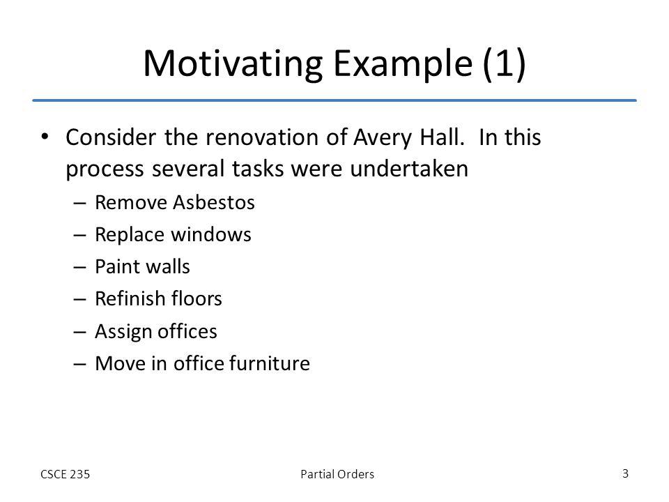 Partial OrdersCSCE 235 3 Motivating Example (1) Consider the renovation of Avery Hall.