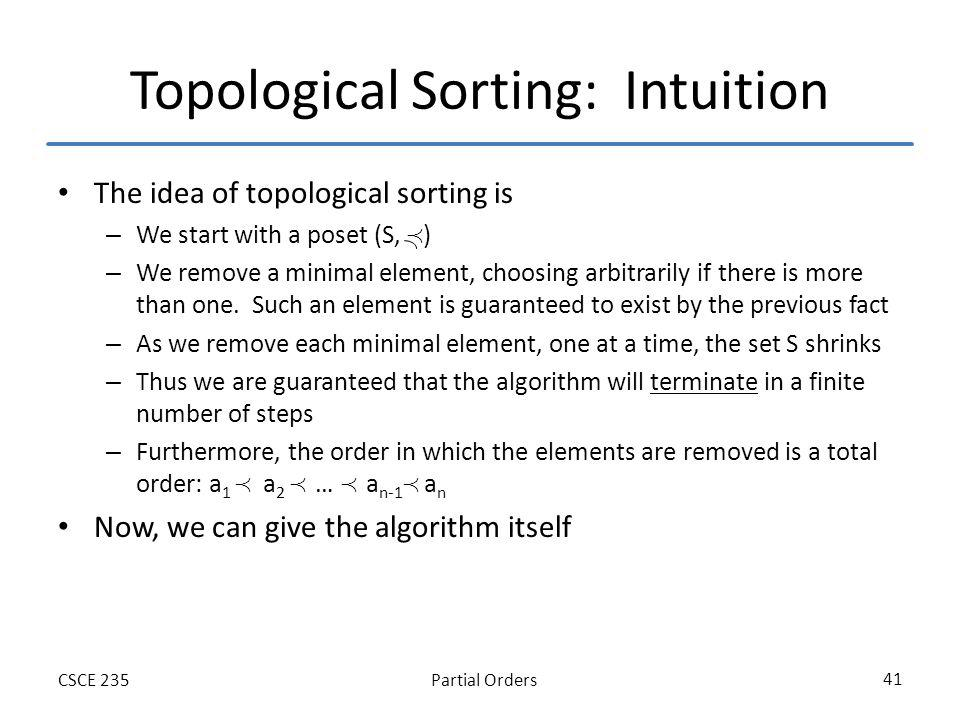 Partial OrdersCSCE 235 41 Topological Sorting: Intuition The idea of topological sorting is – We start with a poset (S, ) – We remove a minimal elemen