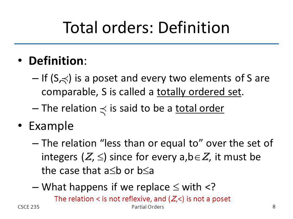 Partial OrdersCSCE 235 29 Extremal Elements: Example 1 What are the minimal, maximal, minimum, maximum elements.