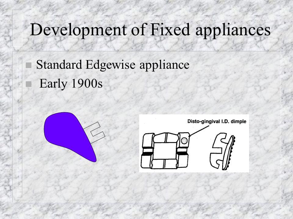 Development of Fixed appliances n Standard Edgewise appliance n Early 1900s
