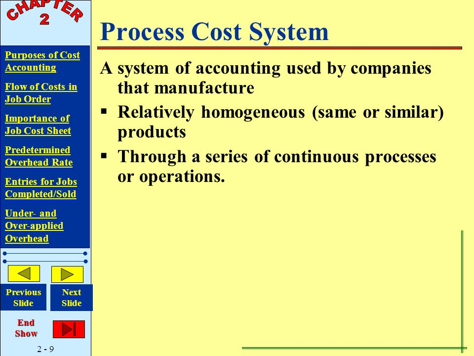 2 - 9 Purposes of Cost Accounting Flow of Costs in Job Order Importance of Job Cost Sheet Predetermined Overhead Rate Entries for Jobs Completed/Sold