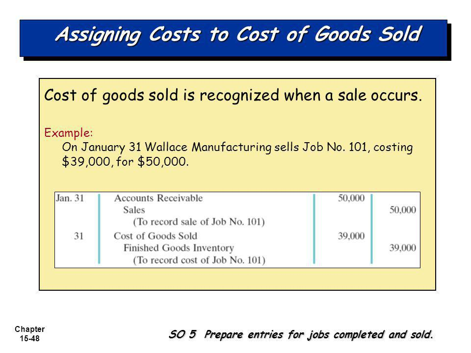 Chapter 15-48 Assigning Costs to Cost of Goods Sold Cost of goods sold is recognized when a sale occurs.
