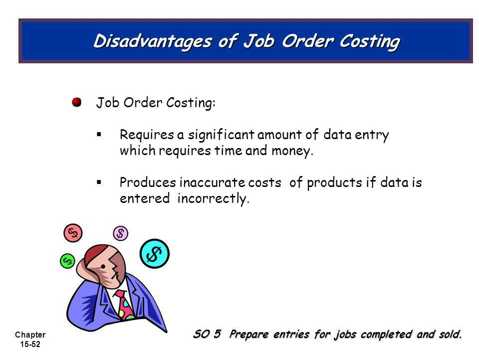 Chapter 15-52 Job Order Costing: Requires a significant amount of data entry which requires time and money.