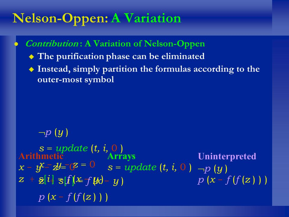 Nelson-Oppen: A Variation l Contribution : A Variation of Nelson-Oppen u The purification phase can be eliminated u Instead, simply partition the form