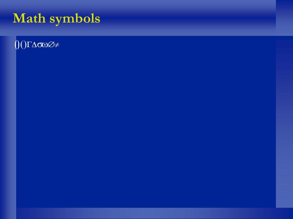 Math symbols ()