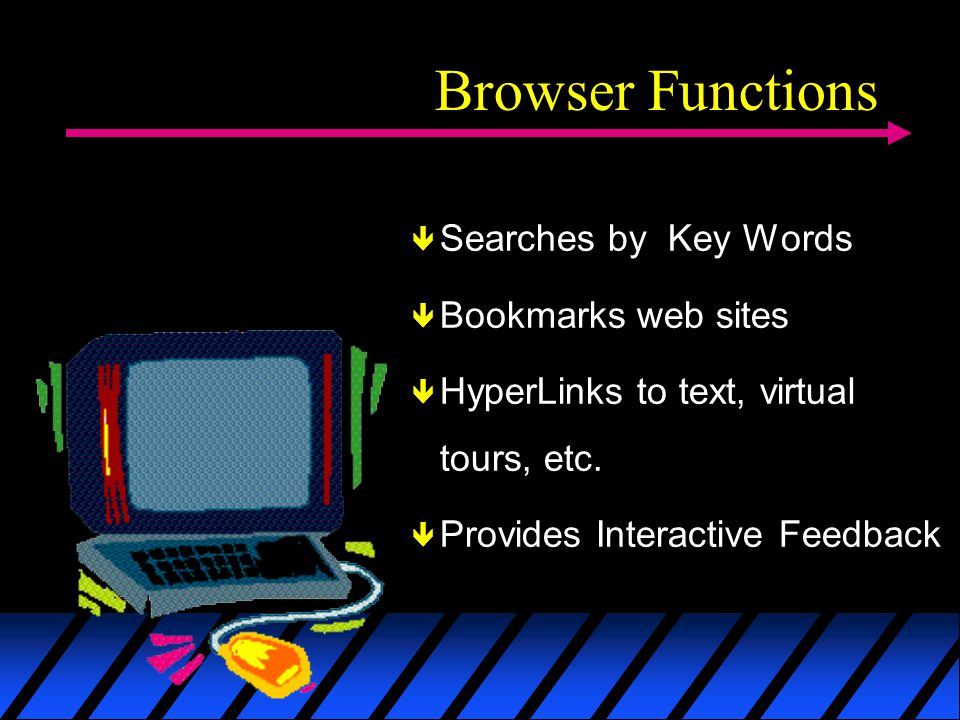 Browser Functions Searches by Key Words Bookmarks web sites HyperLinks to text, virtual tours, etc.