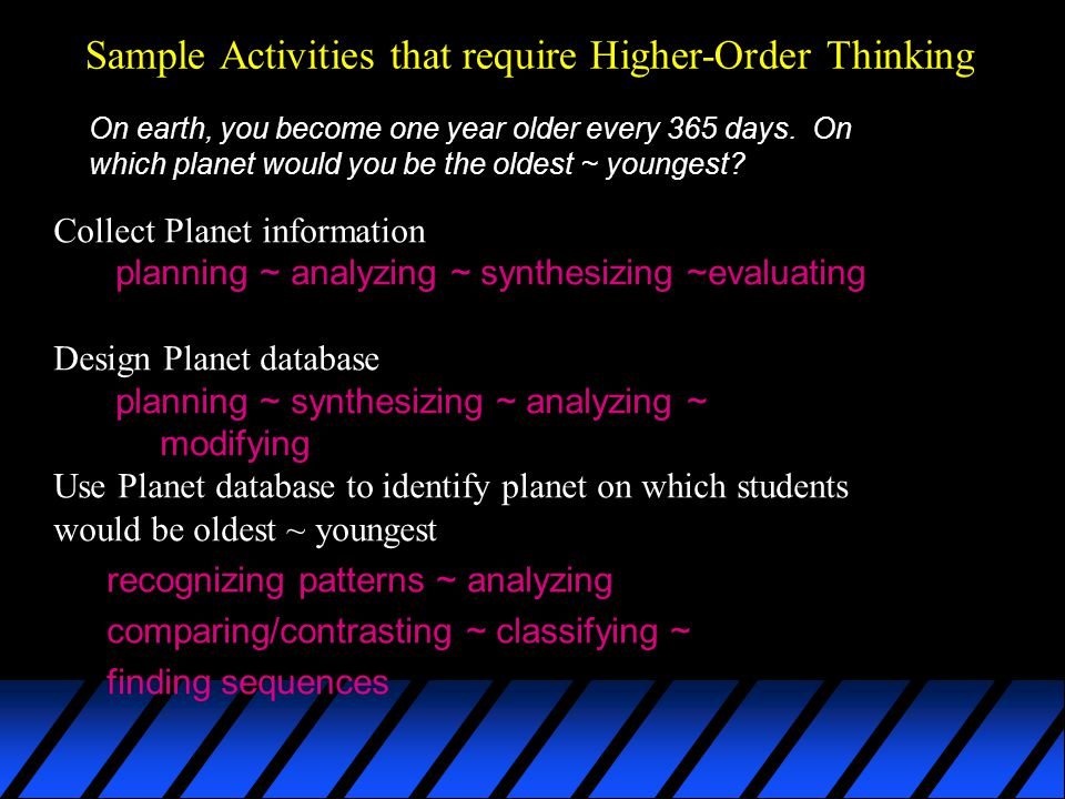 Sample Activities that require Higher-Order Thinking On earth, you become one year older every 365 days.