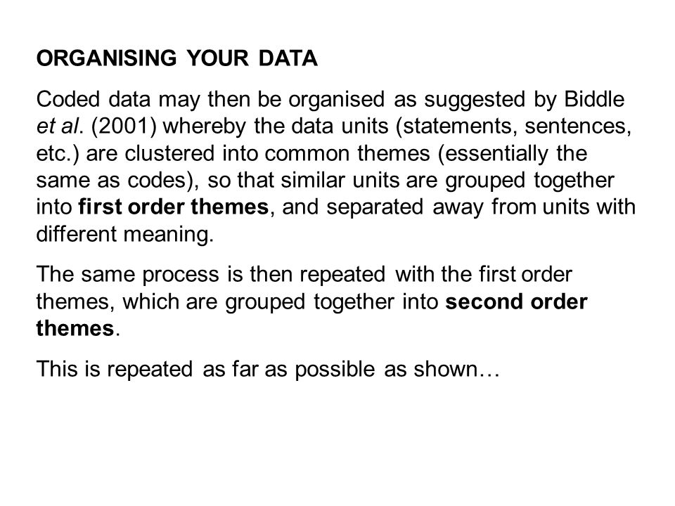 ORGANISING YOUR DATA Coded data may then be organised as suggested by Biddle et al. (2001) whereby the data units (statements, sentences, etc.) are cl