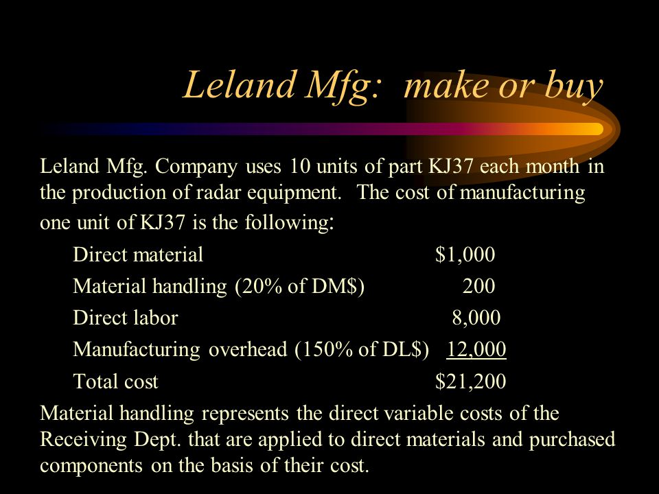 Leland Mfg: make or buy Leland Mfg. Company uses 10 units of part KJ37 each month in the production of radar equipment. The cost of manufacturing one