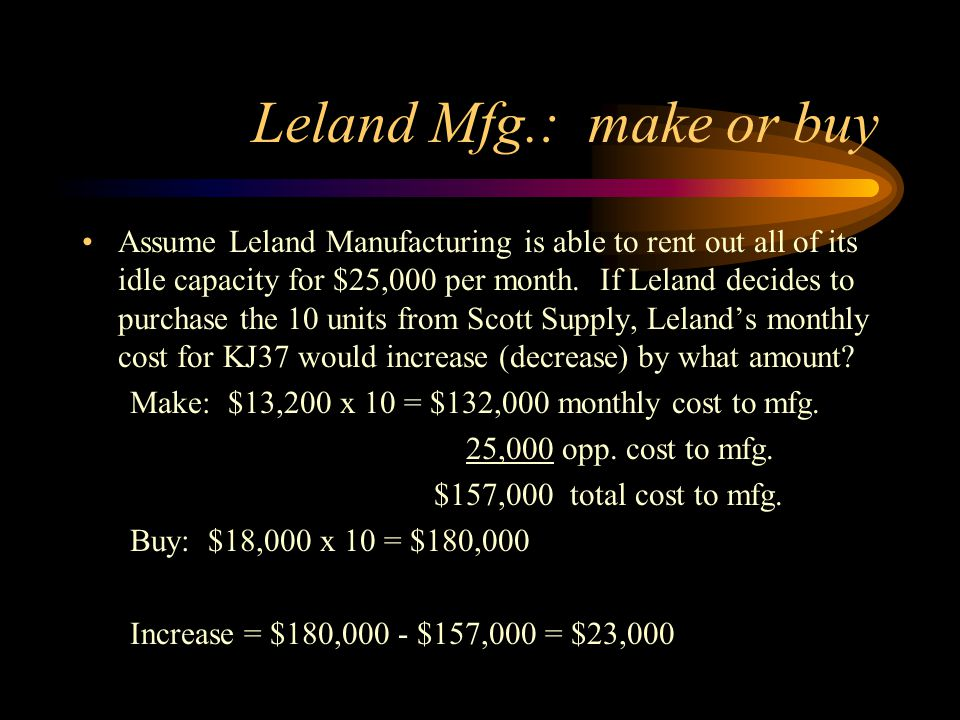 Leland Mfg.: make or buy Assume Leland Manufacturing is able to rent out all of its idle capacity for $25,000 per month. If Leland decides to purchase
