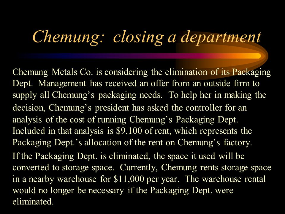Chemung: closing a department Chemung Metals Co. is considering the elimination of its Packaging Dept. Management has received an offer from an outsid