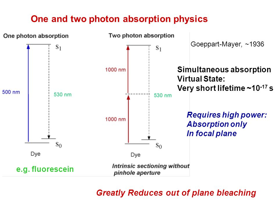 One and two photon absorption physics Requires high power: Absorption only In focal plane Greatly Reduces out of plane bleaching Simultaneous absorpti
