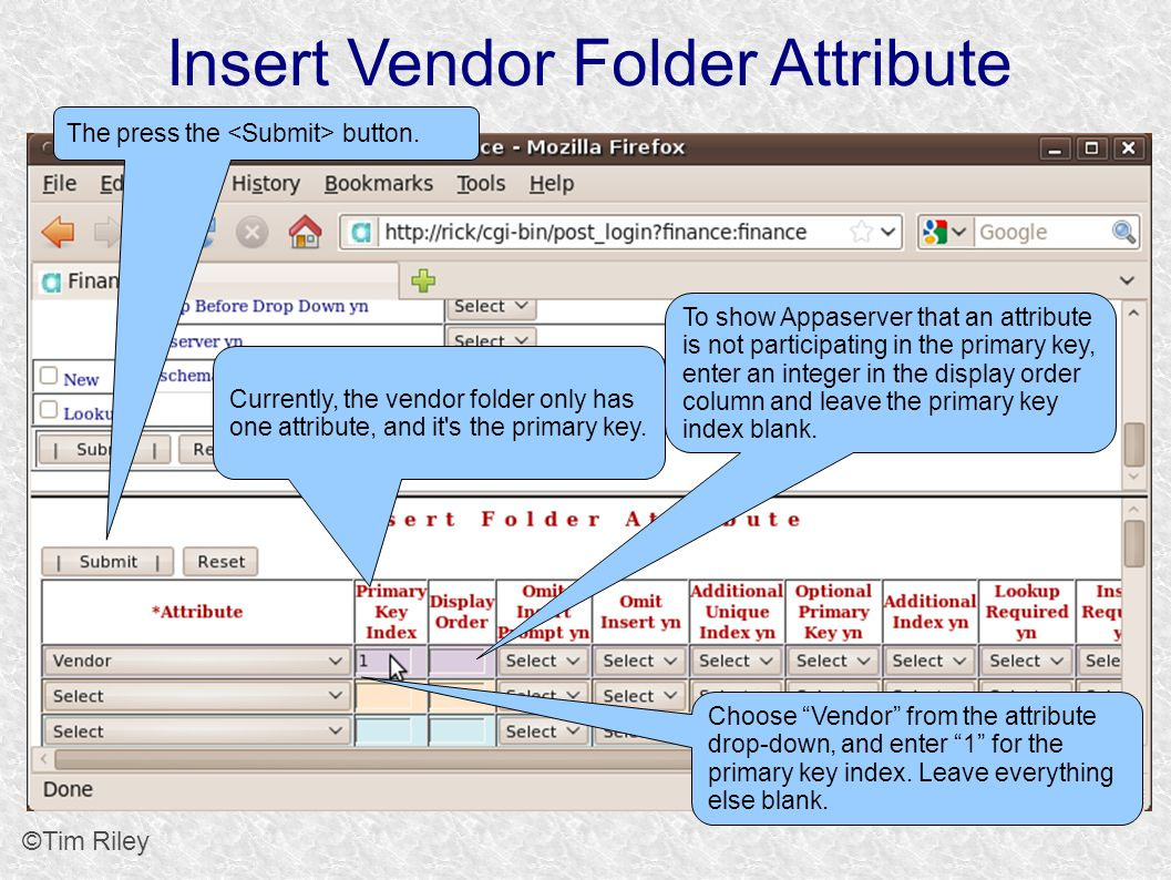 Insert Vendor Folder Attribute ©Tim Riley Choose Vendor from the attribute drop-down, and enter 1 for the primary key index.