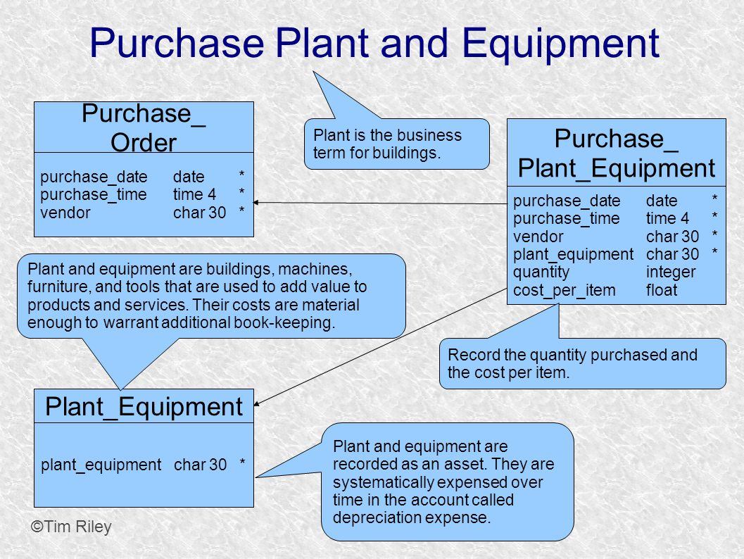 Purchase Plant and Equipment ©Tim Riley Purchase_ Order purchase_datedate* purchase_timetime 4* vendorchar 30* Plant_Equipment plant_equipmentchar 30* Purchase_ Plant_Equipment purchase_datedate* purchase_timetime 4* vendorchar 30* plant_equipmentchar 30* quantityinteger cost_per_itemfloat Record the quantity purchased and the cost per item.
