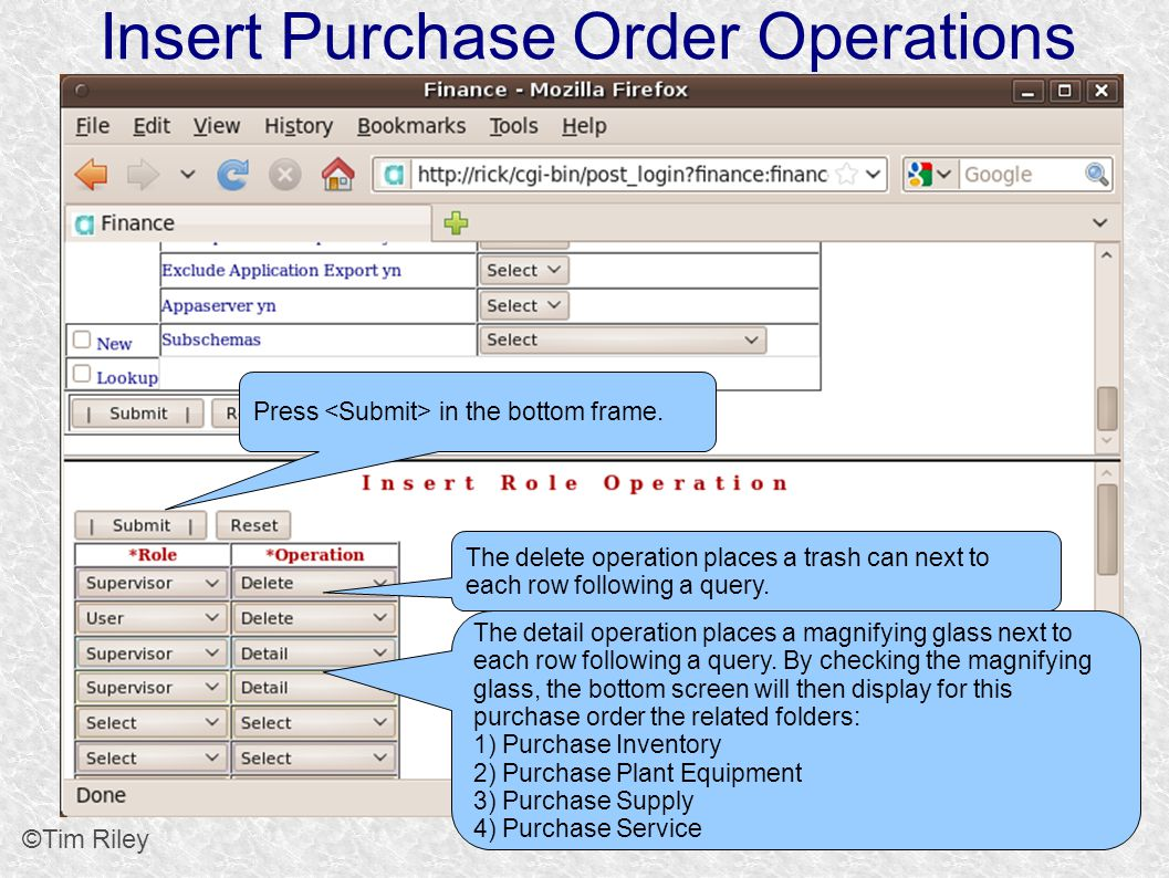 Insert Purchase Order Operations ©Tim Riley The delete operation places a trash can next to each row following a query.