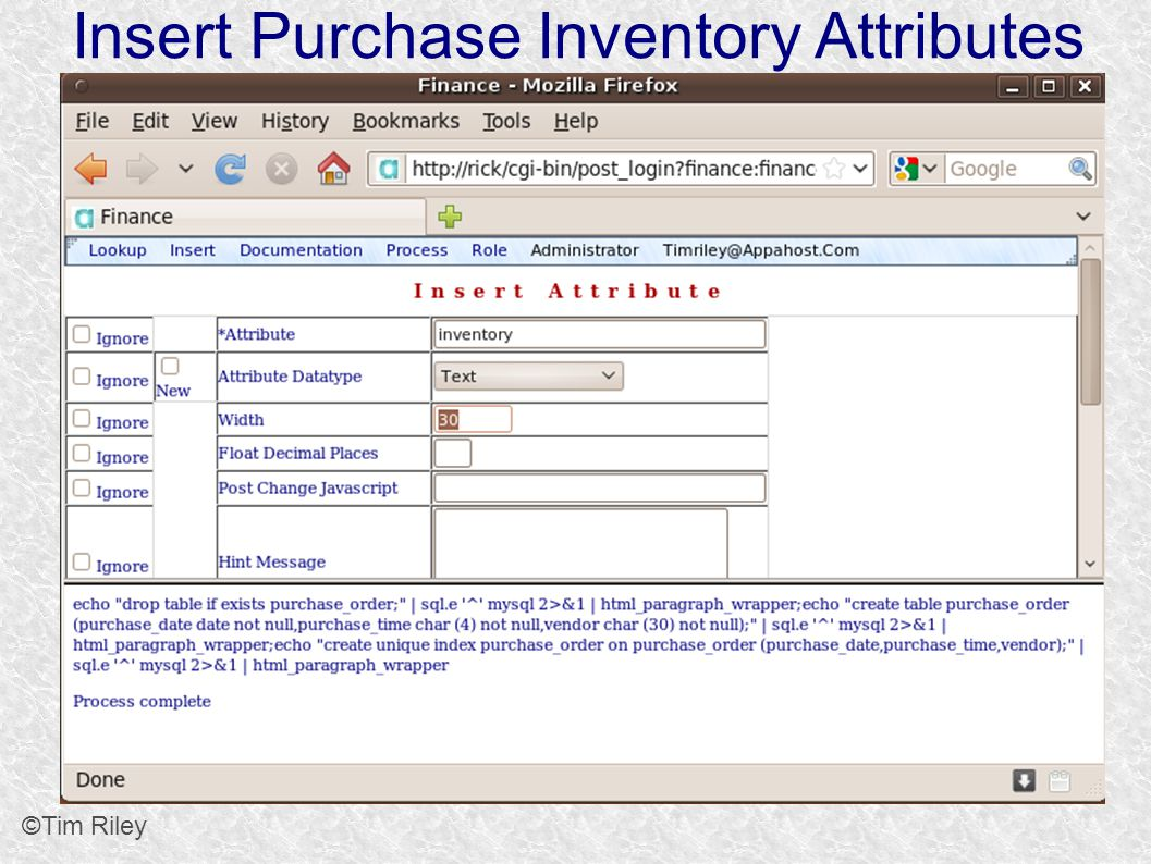 Insert Purchase Inventory Attributes ©Tim Riley