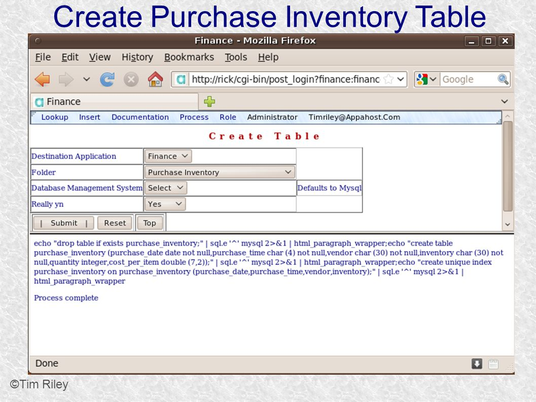 Create Purchase Inventory Table ©Tim Riley