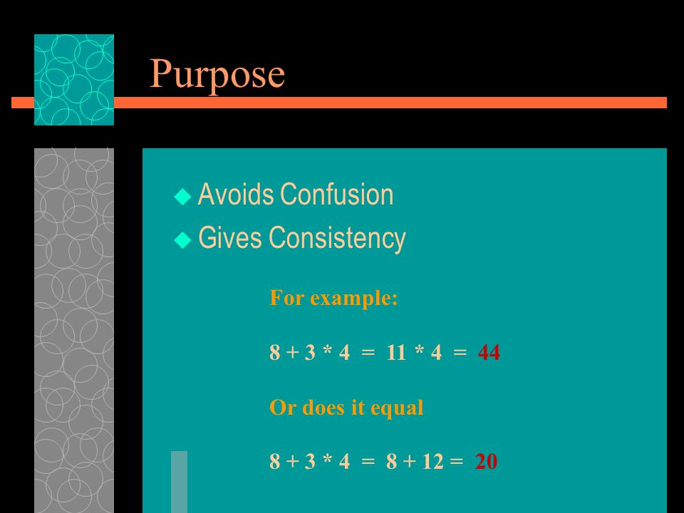 Purpose Avoids Confusion Gives Consistency For example: 8 + 3 * 4 = 11 * 4 = 44 Or does it equal 8 + 3 * 4 = 8 + 12 = 20