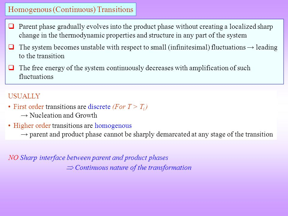 NO Sharp interface between parent and product phases Continuous nature of the transformation USUALLY First order transitions are discrete (For T > T i
