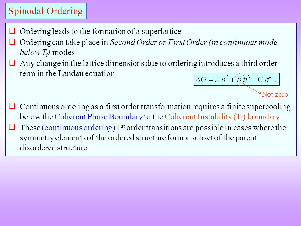 Ordering leads to the formation of a superlattice Ordering can take place in Second Order or First Order (in continuous mode below T i ) modes Any cha