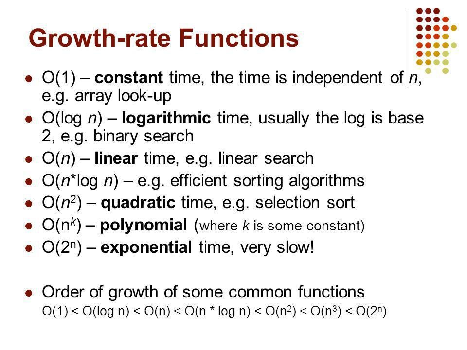 Growth-rate Functions O(1) – constant time, the time is independent of n, e.g. array look-up O(log n) – logarithmic time, usually the log is base 2, e