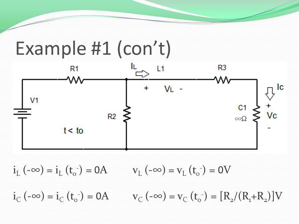 i L (-) = i L (t o - ) = 0Av L (-) = v L (t o - ) = 0V i C (-) = i C (t o - ) = 0A v C (-) = v C (t o - ) = [R 2 /(R 1 +R 2 )]V Example #1 (cont)