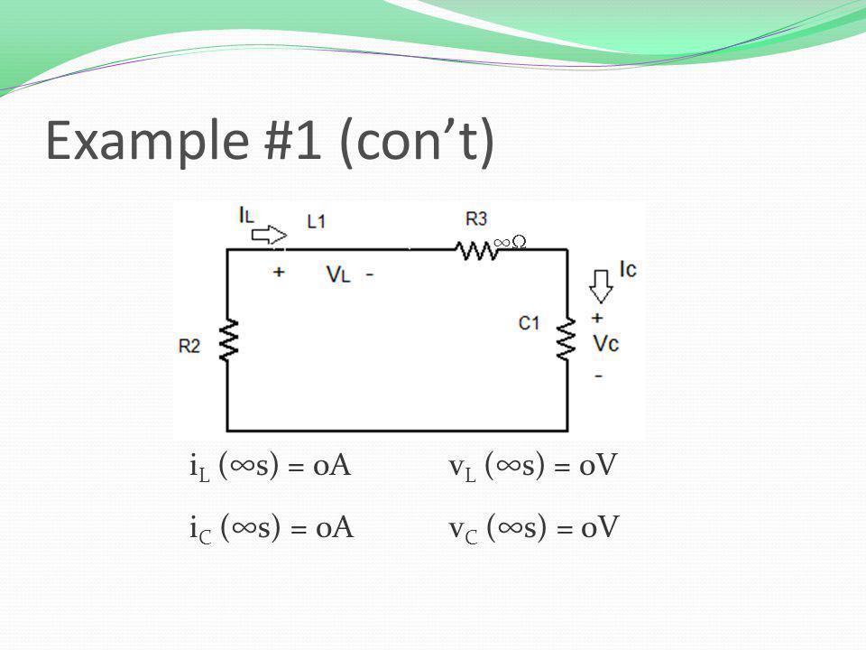 Example #1 (cont) i L (s) = 0Av L (s) = 0V i C (s) = 0Av C (s) = 0V
