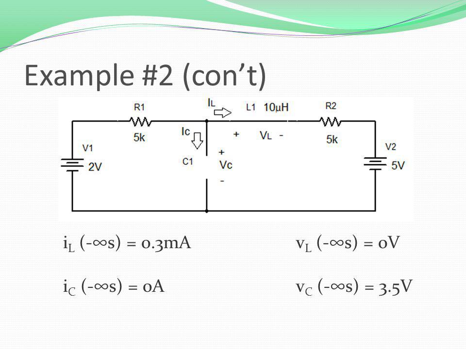 i L (-s) = 0.3mAv L (-s) = 0V i C (-s) = 0Av C (-s) = 3.5V