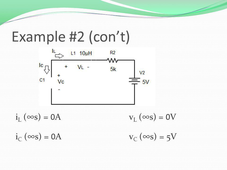 Example #2 (cont) i L (s) = 0Av L (s) = 0V i C (s) = 0Av C (s) = 5V