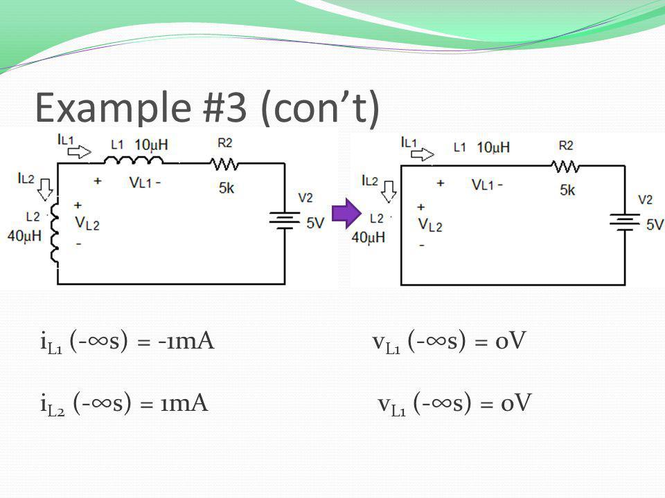 Example #3 (cont) i L1 (-s) = -1mAv L1 (-s) = 0V i L2 (-s) = 1mA v L1 (-s) = 0V
