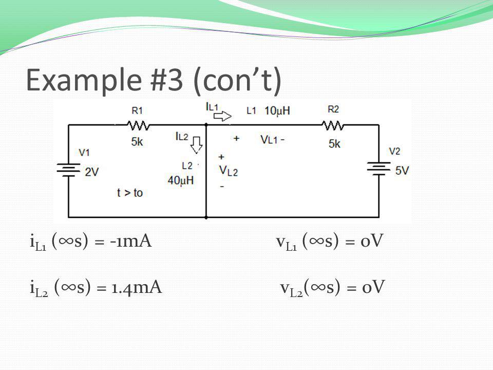 i L1 (s) = -1mAv L1 (s) = 0V i L2 (s) = 1.4mA v L2 (s) = 0V