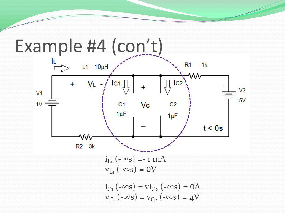 i L1 (-s) =- 1 mA v L1 (-s) = 0V i C1 (-s) = vi C2 (-s) = 0A v C1 (-s) = v C2 (-s) = 4V Example #4 (cont)