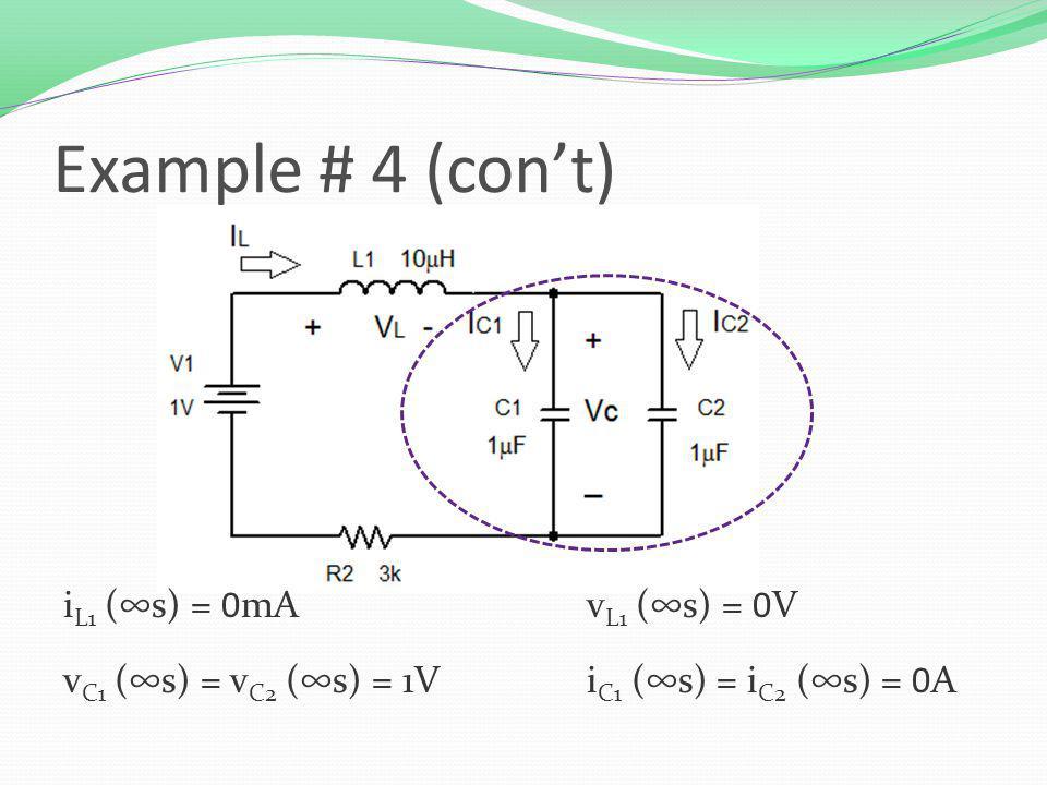 i L1 (s) = 0mAv L1 (s) = 0V v C1 (s) = v C2 (s) = 1Vi C1 (s) = i C2 (s) = 0A