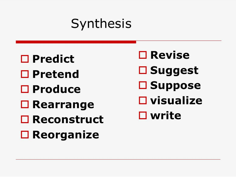 Synthesis Predict Pretend Produce Rearrange Reconstruct Reorganize Revise Suggest Suppose visualize write